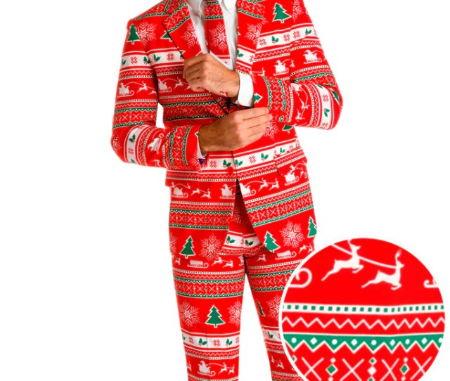 Mens Red Christmas Sweater Suit