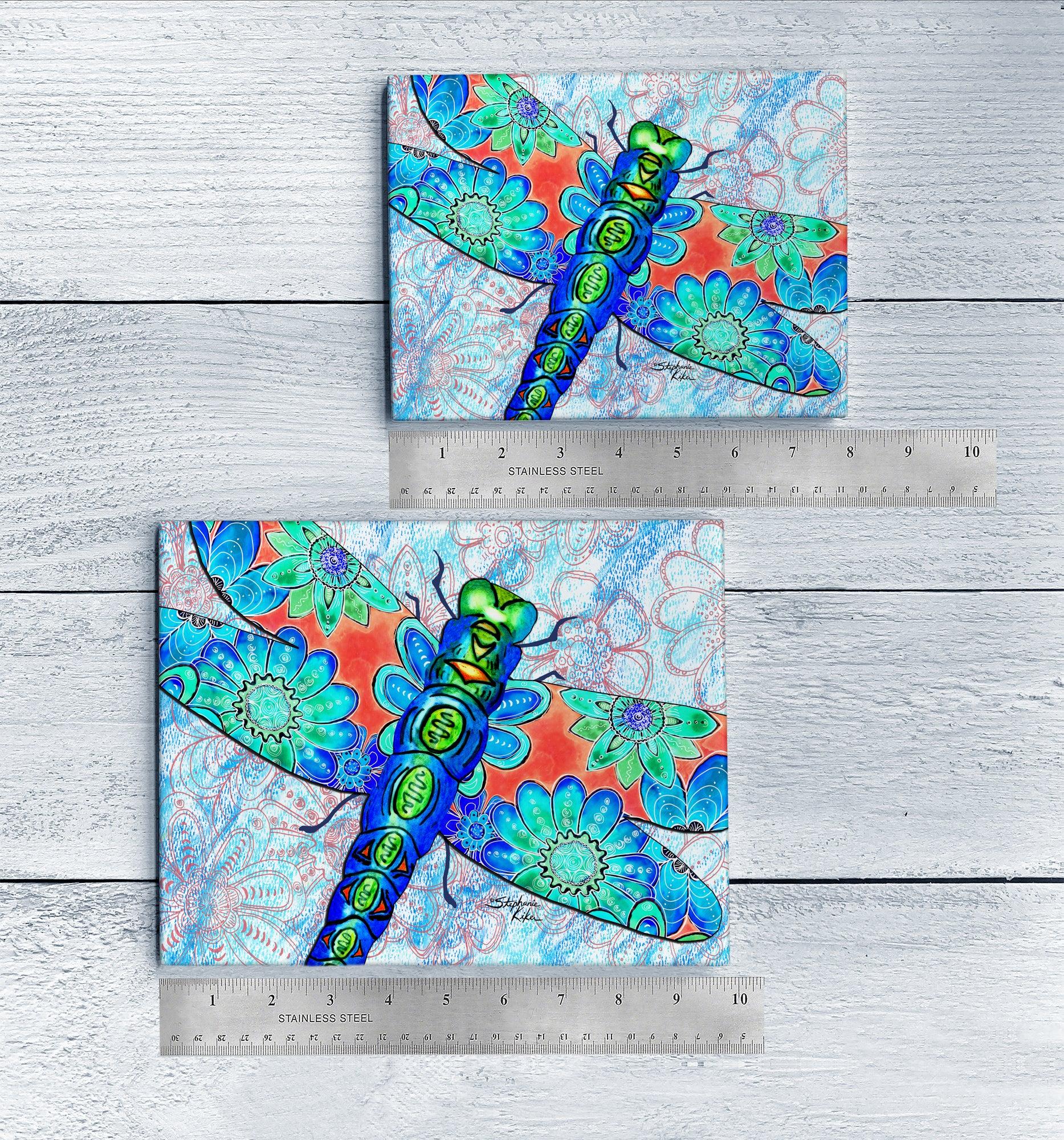 dragonfly flowers ceramic tile