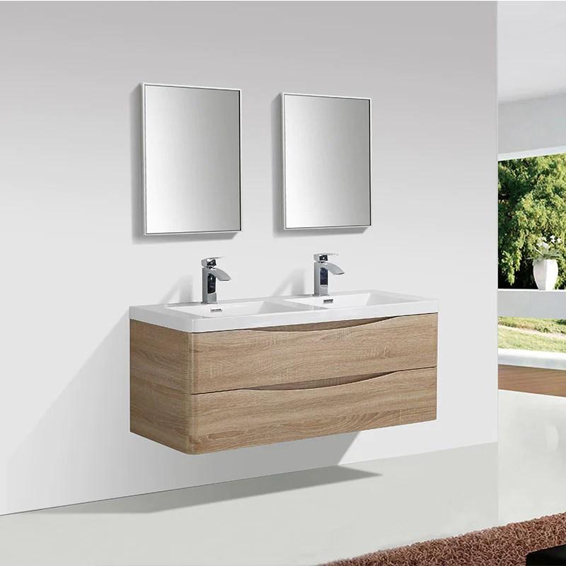 meuble salle de bain design double vasque piacenza largeur 120 cm chene clair