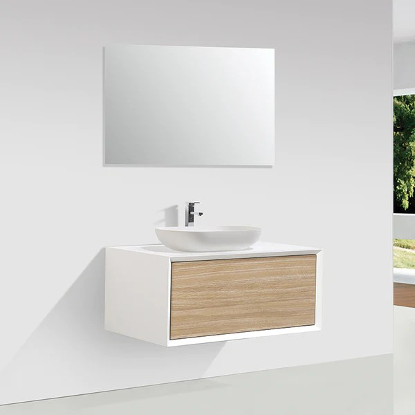 Meuble Salle De Bain Simple Vasque Palio 90 Cm Blanc Chene Clair Te Le Monde Du Bain