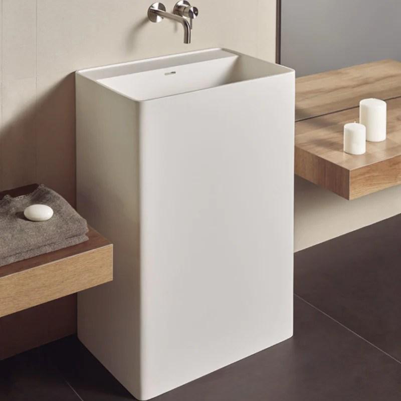 lavabo colonne design cabanes 60 cm en solid surface