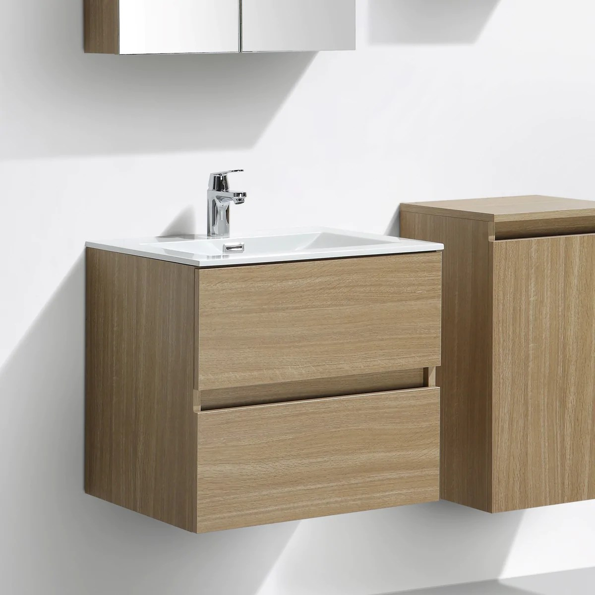 meuble salle de bain design simple vasque siena largeur 60 cm chene clair texture