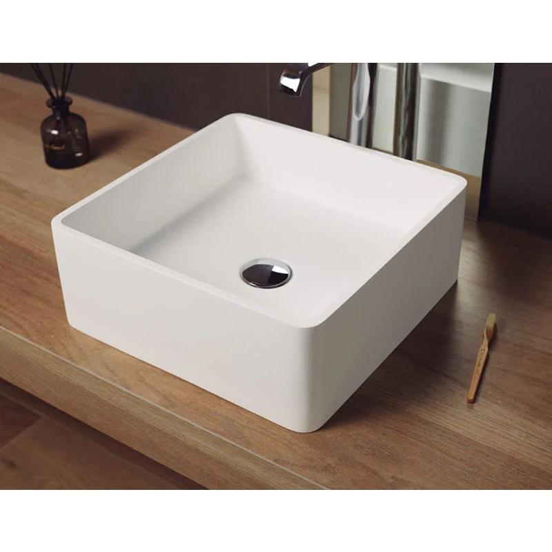 vasque a poser carree en solid surface artana 40 cm