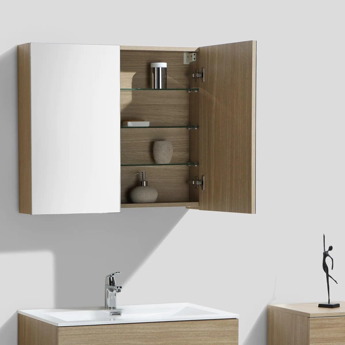 Armoire De Toilette Bloc Miroir Siena Largeur 80 Cm Chene Clair Textu Le Monde Du Bain