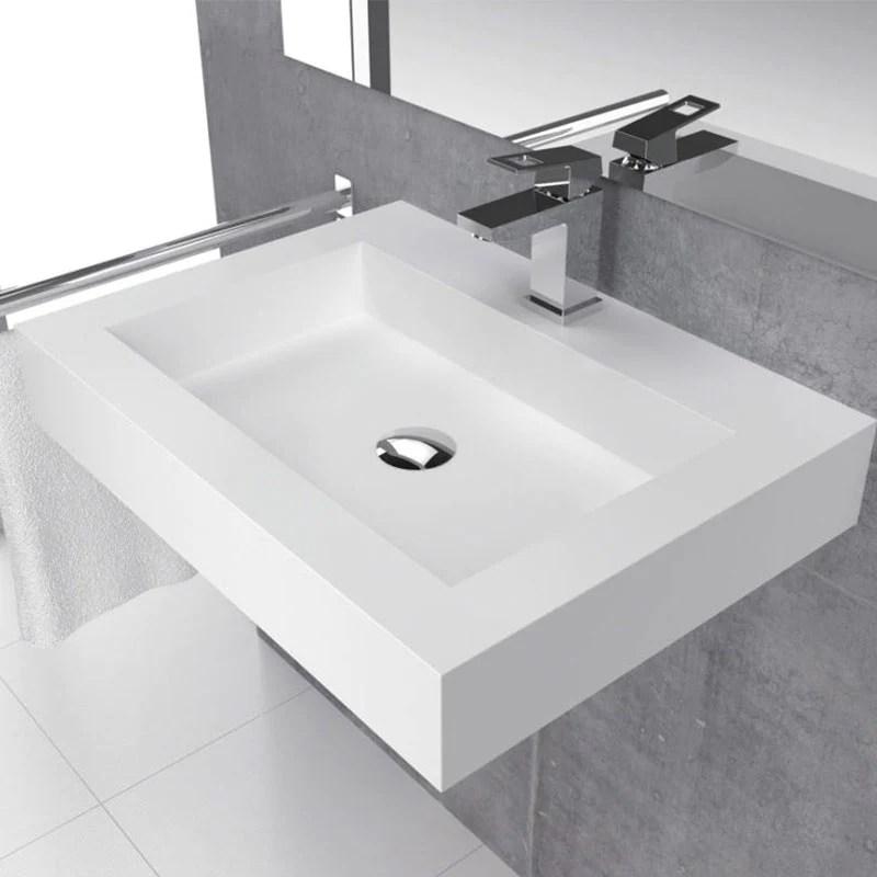 vasque suspendue design bristol 60 cm en solid surface
