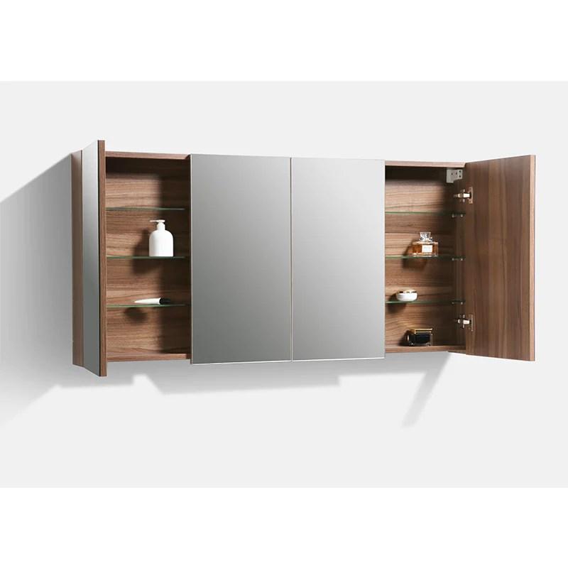 Armoire De Toilette Bloc Miroir Siena Largeur 144 Cm Noyer Le Monde Du Bain