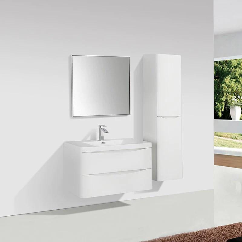 meuble salle de bain design simple vasque piacenza largeur 90 cm blanc laque