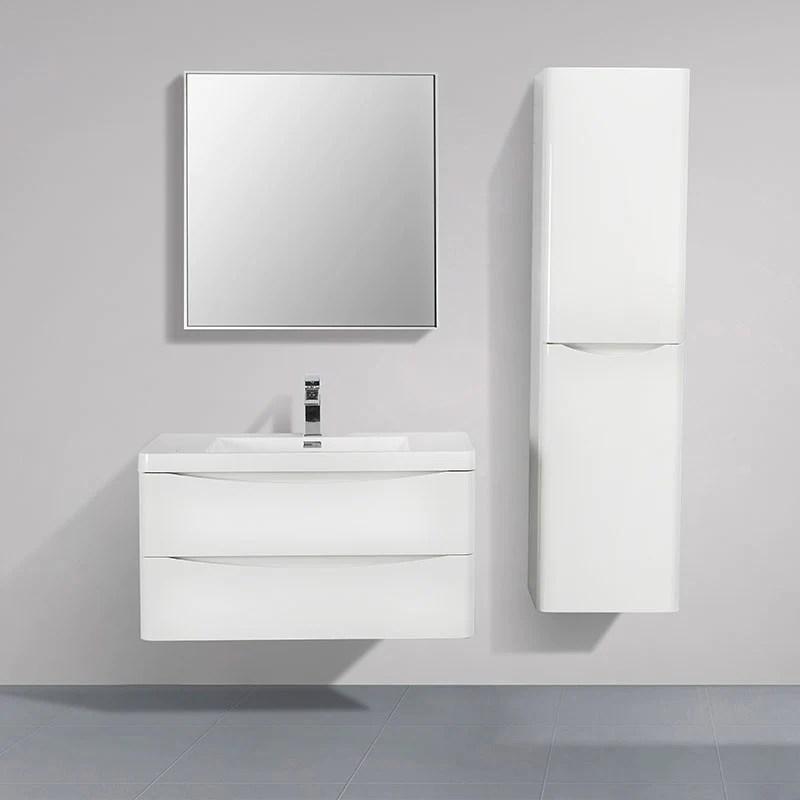 Meuble Salle De Bain Design Simple Vasque Piacenza Largeur 90 Cm Blan Le Monde Du Bain