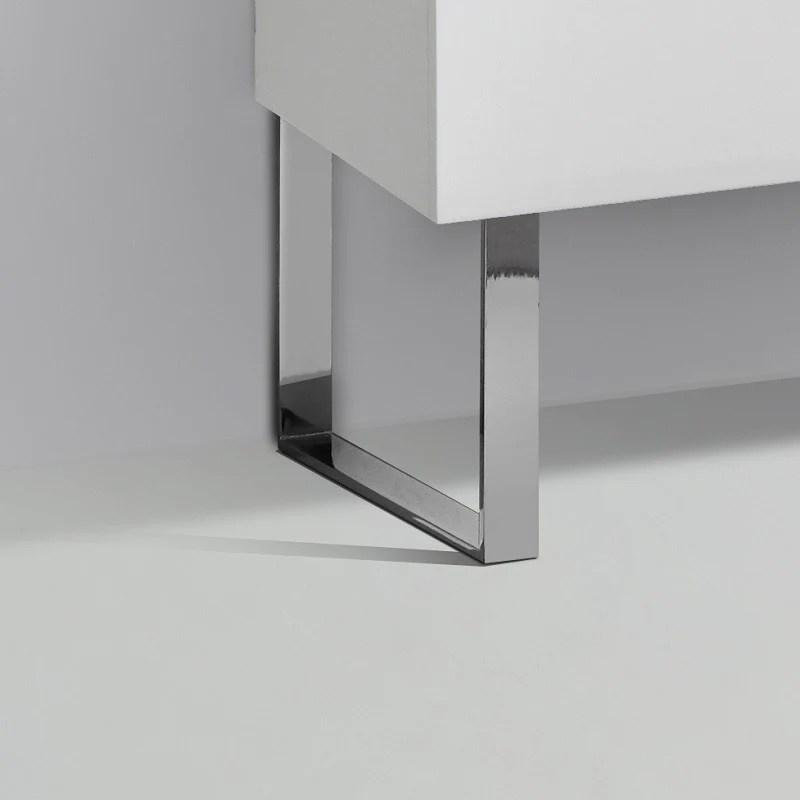 jeu de 2 pieds design pour meubles suspendus siena finition chromee