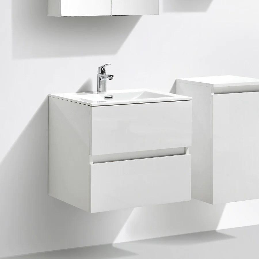 meuble salle de bain design simple vasque siena largeur 60 cm blanc laque
