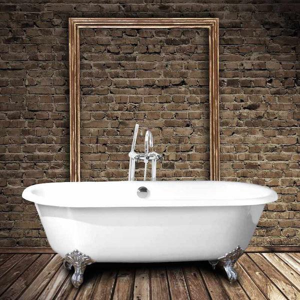 baignoire ancienne en fonte plymouth 153 cm blanche et pieds chromes le monde du bain