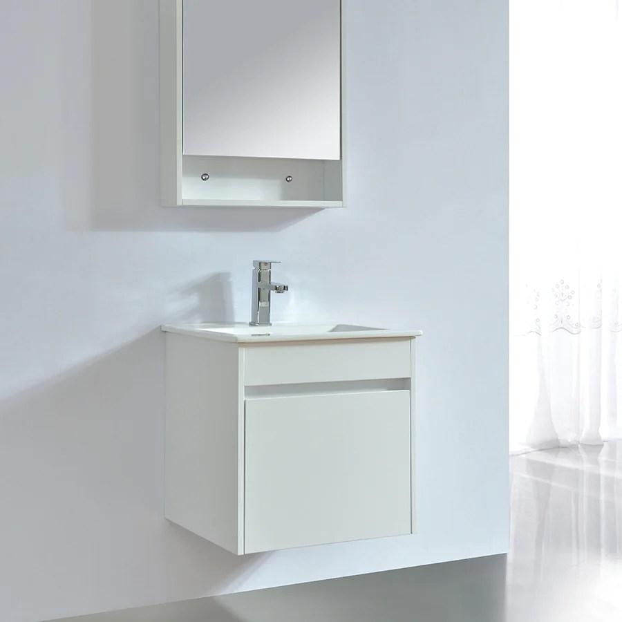 meuble salle de bain design 50 cm easy finition melamine blanc avec vasque ceramique