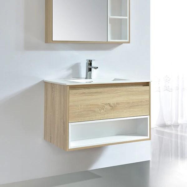 Meuble Salle De Bain Design 80 Cm Frame Finition Melamine Chene Avec V Le Monde Du Bain