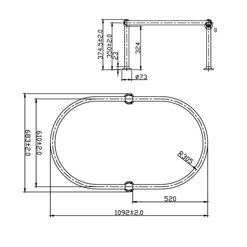 barre de rideaux de douche curtiss ovale