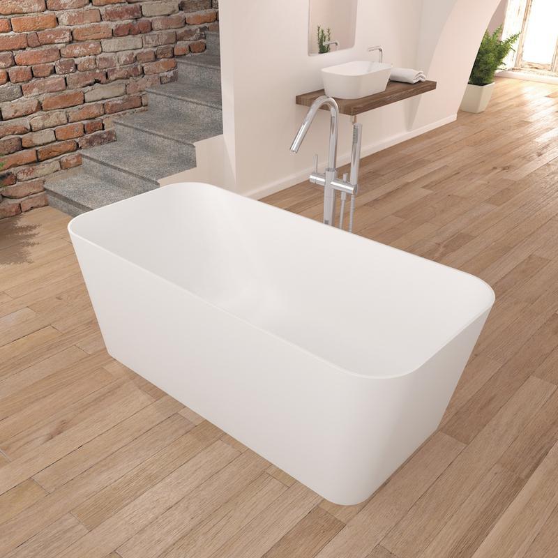 baignoire ilot design en solid surface rectangulaire rust