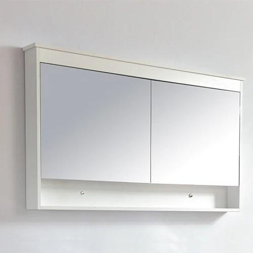 armoire de toilette bloc miroir 120 cm typo finition melamine blanc