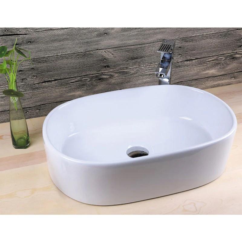 vasque a poser en ceramique verona blanc 55 x 35 cm