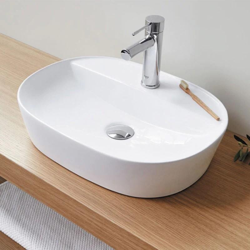 vasque a poser en ceramique marino blanc 50 x 38 cm