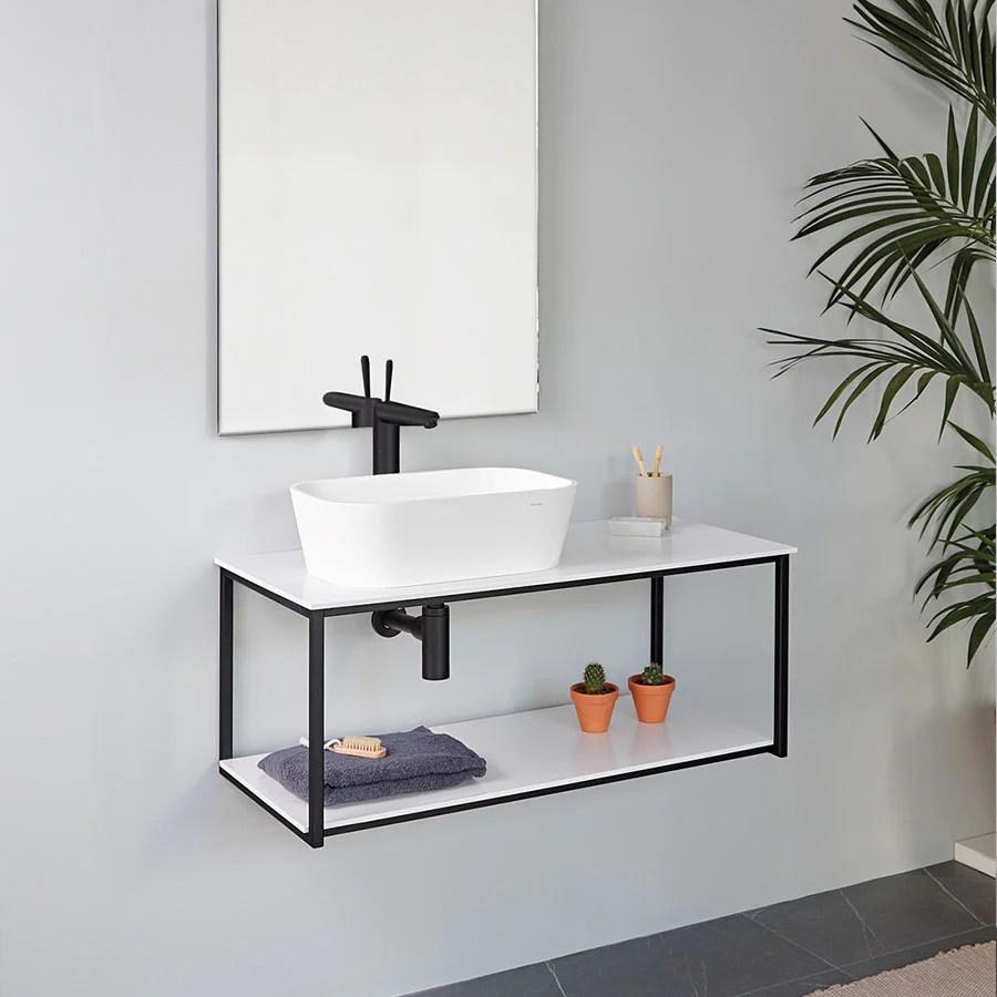 meuble salle de bain design suspendu uno metal pour vasque a poser noir