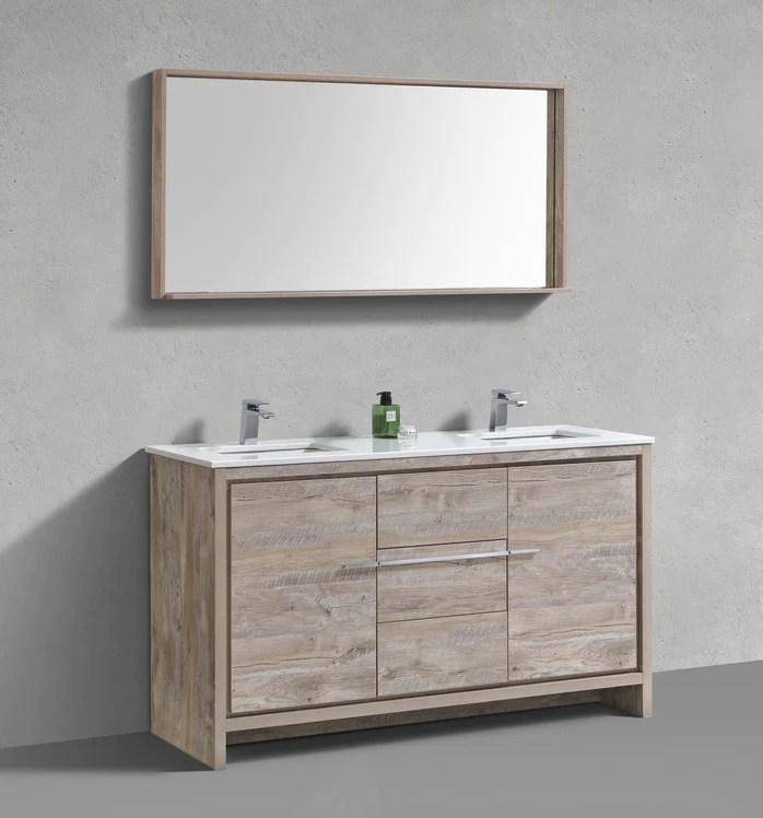 60 dolce kubebath nature wood double sink bathroom vanity