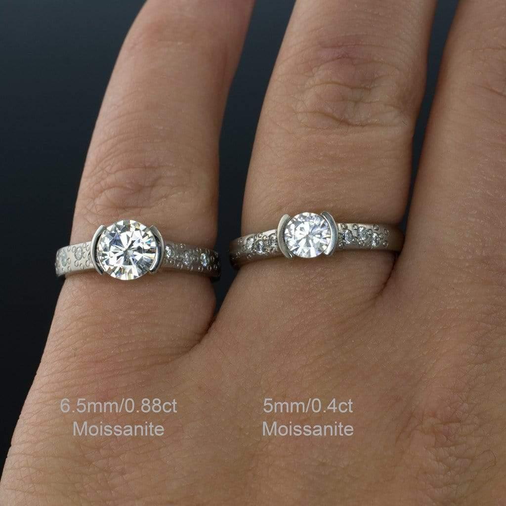 Moissanite Round Half Bezel Star Dust Engagement Ring