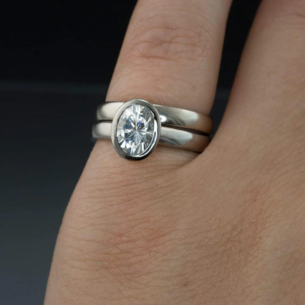 Oval Moissanite Ring Bezel Solitaire Engagement Ring