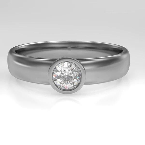 Round Diamond Modern Low Profile Bezel Set Engagement Ring