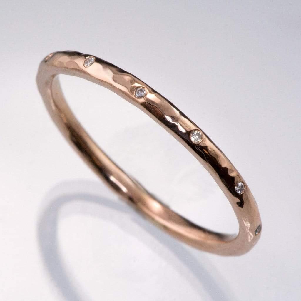 Thin White Sapphire Wedding Ring Skinny Hammered Texture