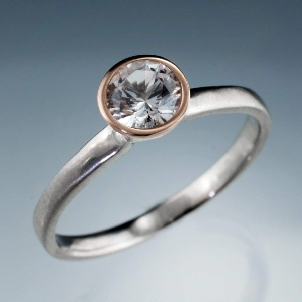 Mixed Metal White Sapphire Bezel Engagement Ring Mixed Metal White Sapphire Bezel Engagement Ring   by Nodeform