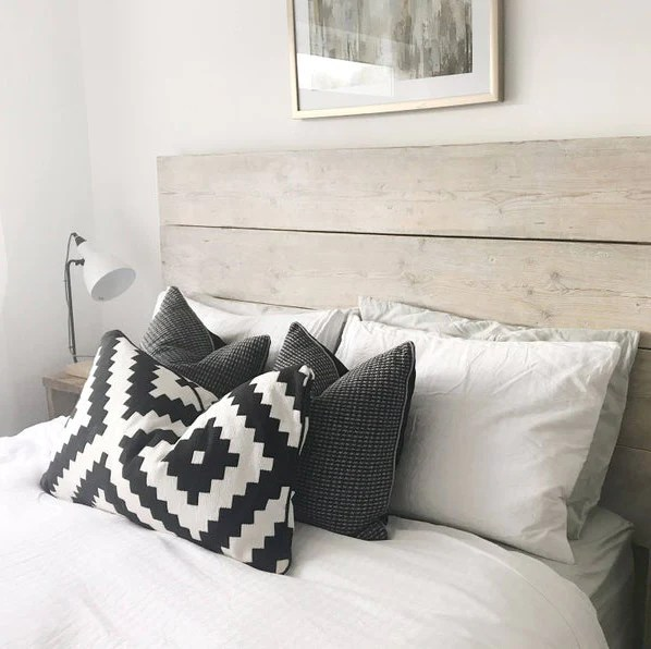 headboard wooden grey scandi bed wood limed solid bedroom double rustic gray reclaimed king chunky single scandinavian white