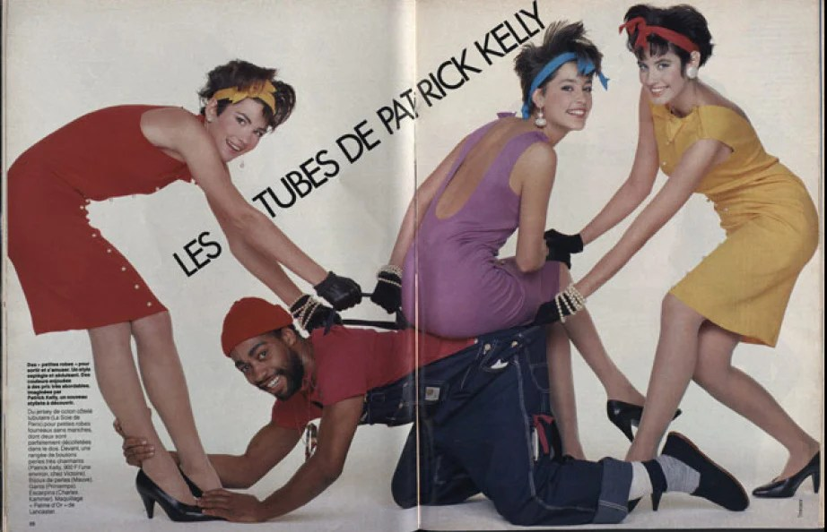 Les Tubes de Patrick Kelly, Elle France, February 18, 1985