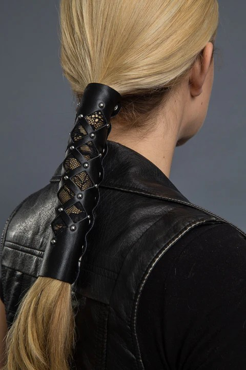 Diamond Cut Out WLace Amp Rivets Hair Glove
