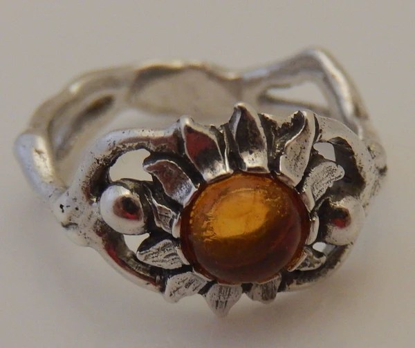 Sunflower Ring In 925 Sterling Silver W Natural Amber