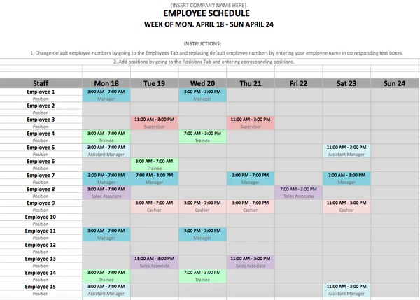10 Free Weekly Schedule Templates For Excel Savvy Spreadsheets