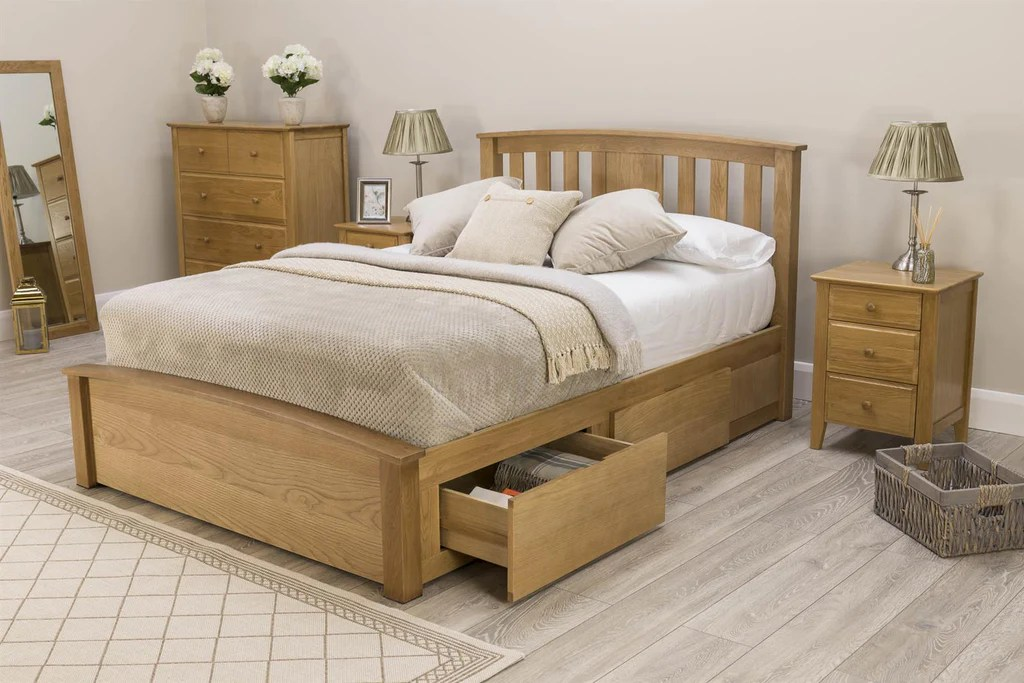 Royal Ascot Solid Oak Storage Bed Frame 5ft King Size The Oak Bed Store