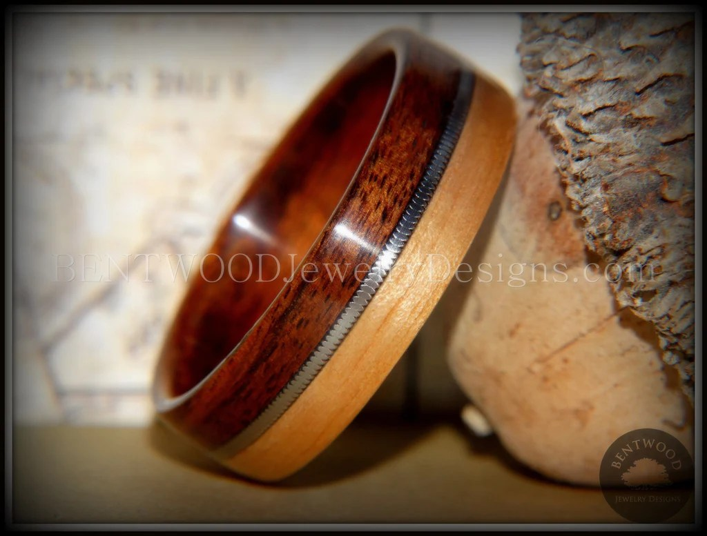 Bentwood Ring Rosewood And Bamboo Ring With Guitar