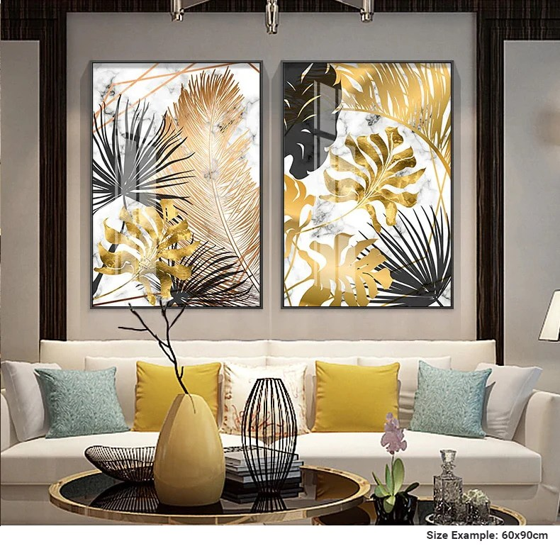 Nordic Tropical Gold Leaves Abstract Wall Art Posters Fine Art Canvas Nordicwallart Com