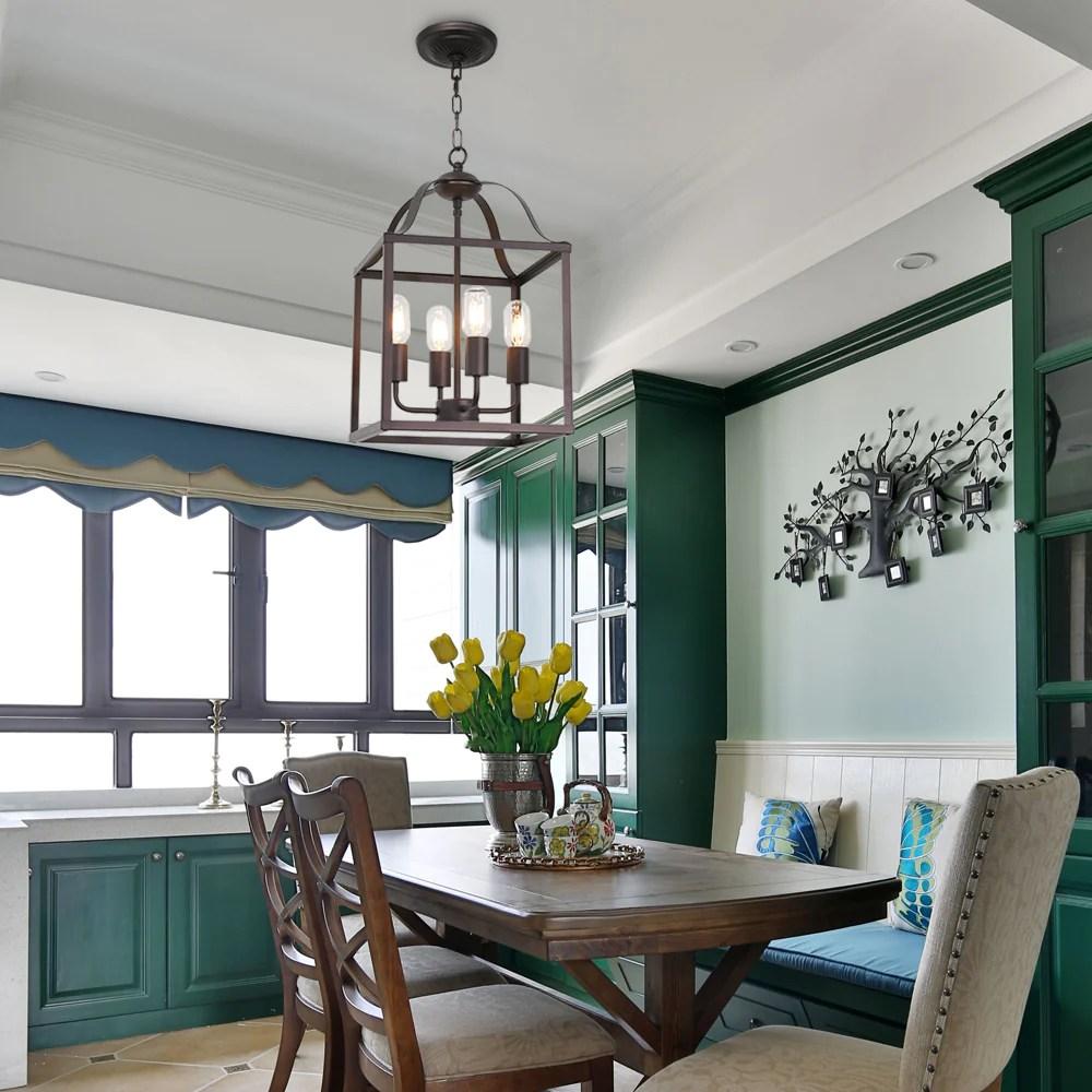 bonlicht 4 light farmhouse chandelier cage foyer lighting oil rubbed bronze finish