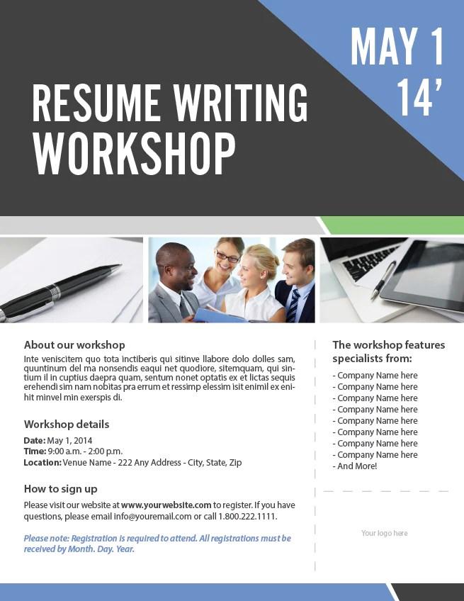 resume writing workshop flyer template adobe indesign file diy