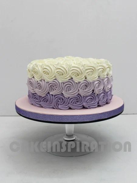 OMBRE PURPLE ROSETTE SWIRLS WEDDING CAKE CUPCAKES OVER 3