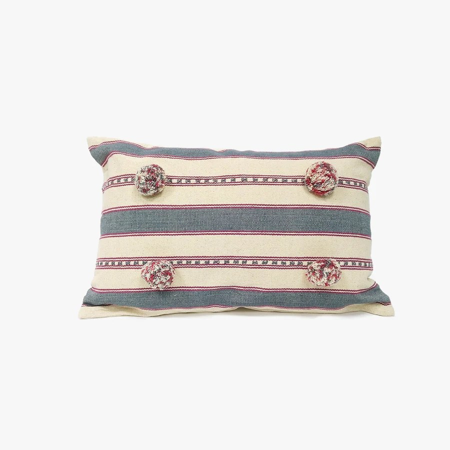 rectangle cushion in blue red