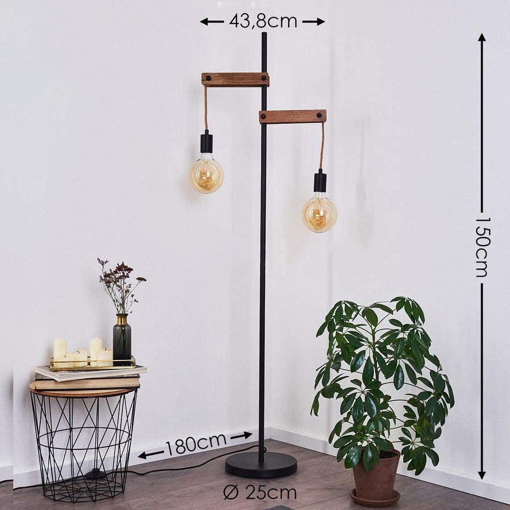 lampadaire salon industriel vintage bois