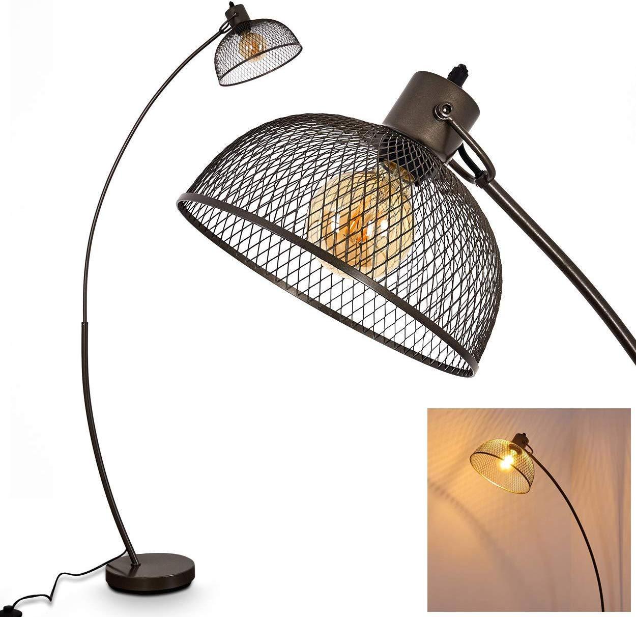 lampadaire industriel noir grillage