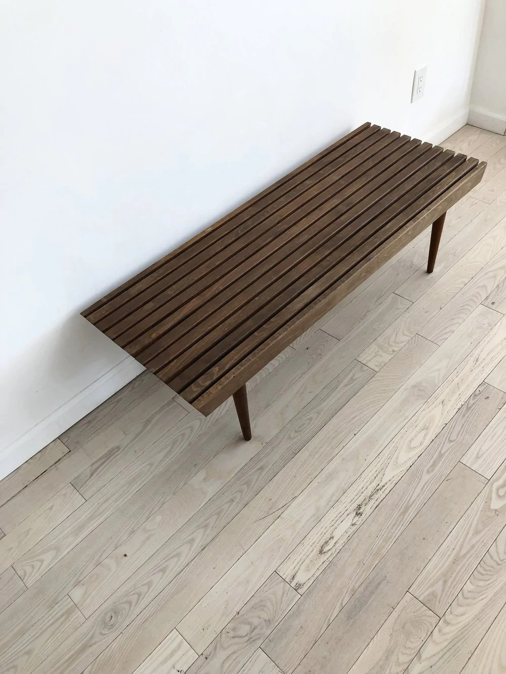 Petite Mid Century Slat Bench Coffee Table