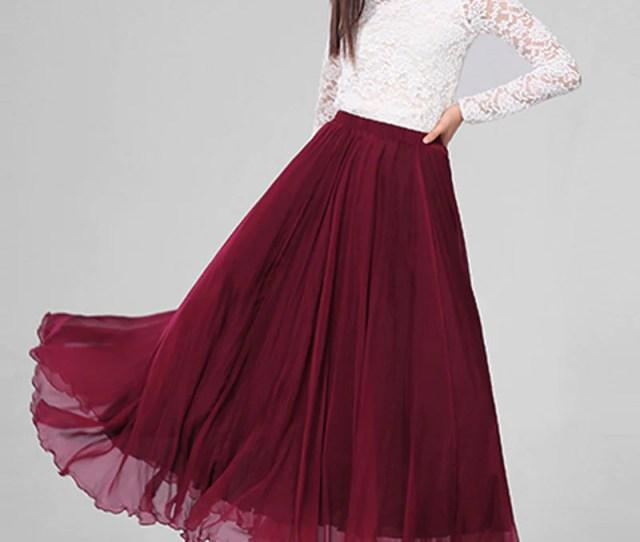 Dark Red Chiffon Maxi Skirt With Extra Wide Hem