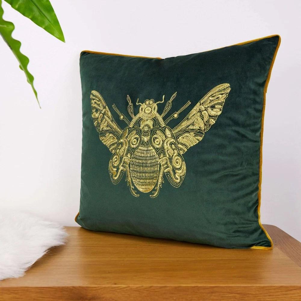 cerana emerald velvet bumble bee cushion