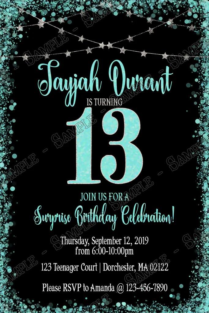 13th birthday glitter birthday party invitation