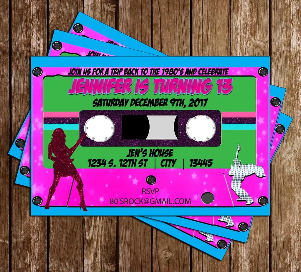 neon party 80 s birthday party invitation