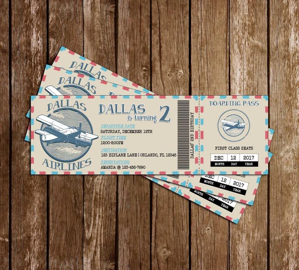 vintage airplane ticket birthday invitation