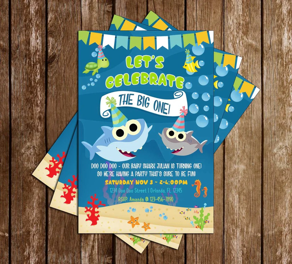baby shark the big one birthday party invitation
